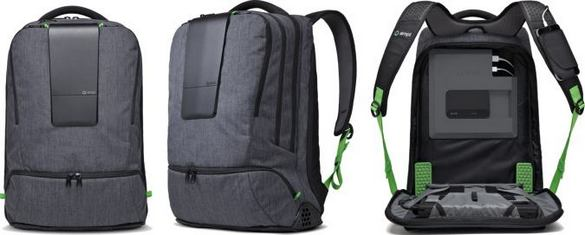 AMPL Smart bag - Front And Lateral Views And Interior With Battery Chargers