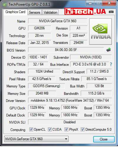 GPU-Z Inno3D iChill GTX 960 2GB Ultra