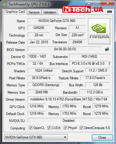 GPU-Z MSI GTX 960 GAMING 2G