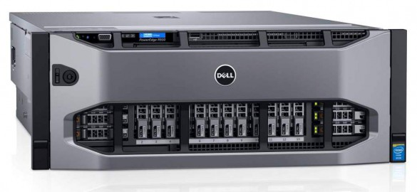 Dell PowerEdge R930 4 socket 4U rack server rack server with 8 PCIe (Peripheral Component Interconnect Express) expansion bus with bezel.