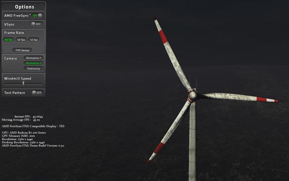 Для экспериментов с работой технологии Freesync AMD подготовила специальное приложение AMD FreeSync Windmill demo tool