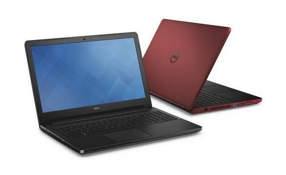 Two red Dell Vostro 18 3000 Series (Model 3558) Non-Touch 15-inch notebook computers, with Intel Broadwell (BDW) processor. <a href=