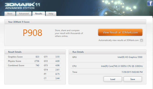 Intel HD Graphics 5500 в тесте 3DMark 11 (Performance)