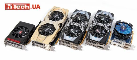 Тот случай, когда не стоит судить о скорости видеокарты по ее размеру. AMD Radeon R9 Nano (слева) с легкостью обгонит любую другую видеокарту на этом фото