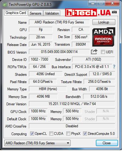 AMD Radeon R9 Nano данные CPUZ