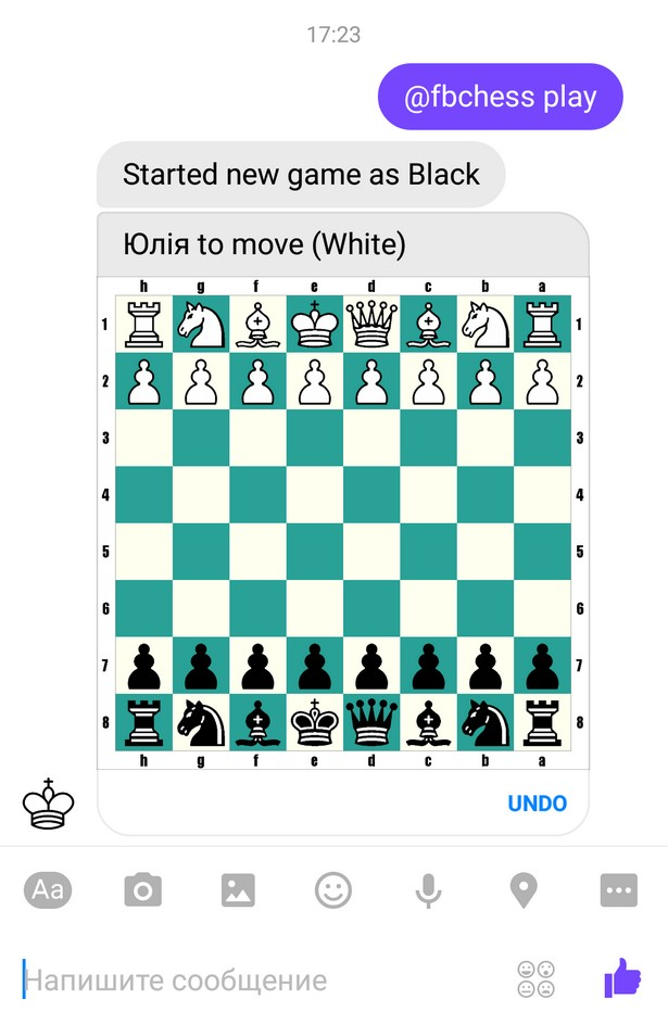FB messenger chess