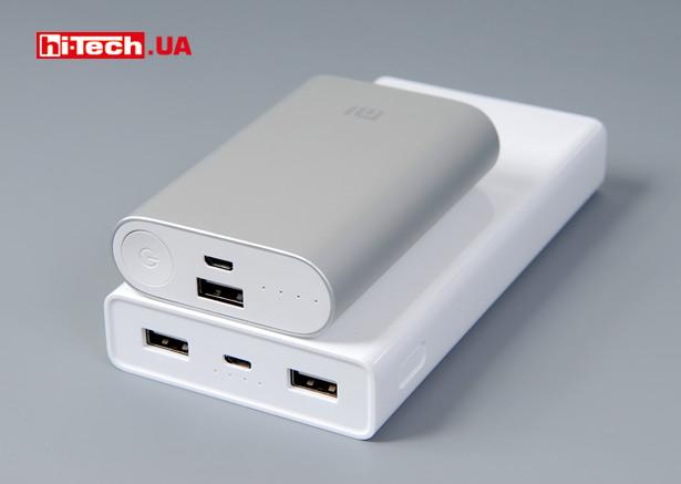 Сравнение размеров Xiaomi Mi Power Bank 20000mAh с моделью Mi Power Bank 10000mAh
