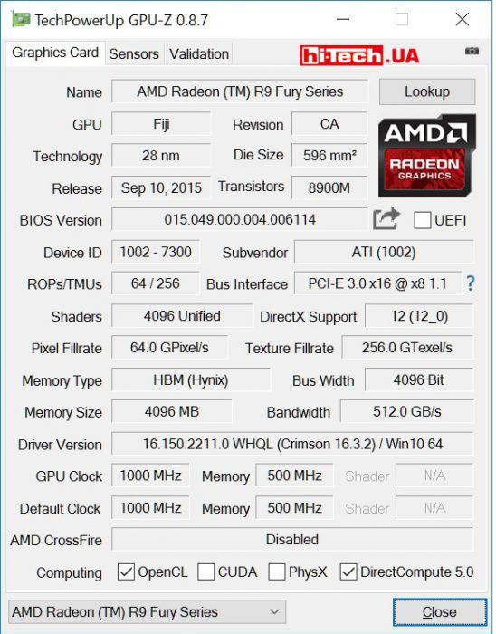 Видеокарта AMD Radeon R9 Nano (GPUZ)