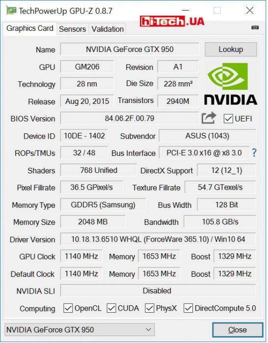 ASUS ECHELON-GTX 950-O2G (GPUZ)