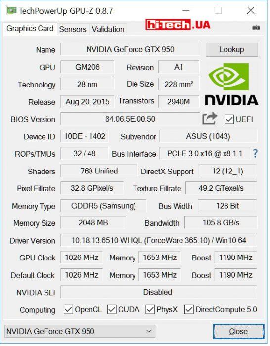 ASUS GTX 950-2GD5 (GPUZ)