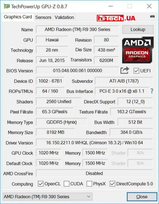 Видеокарта HIS R9 390 IceQ X2 OC 8GB (GPUZ)