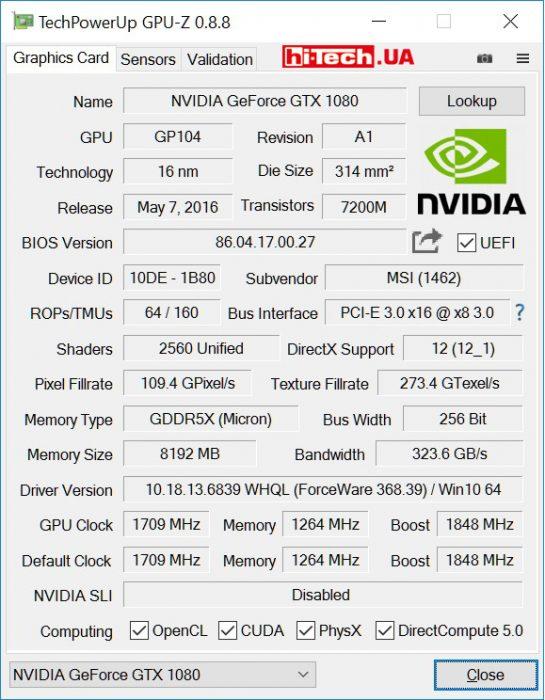 Характеристики MSI GTX 1080 GAMING X 8G (GPUZ)