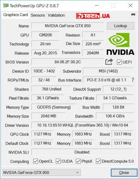 MSI GTX 950 GAMING 2G (GPUZ)