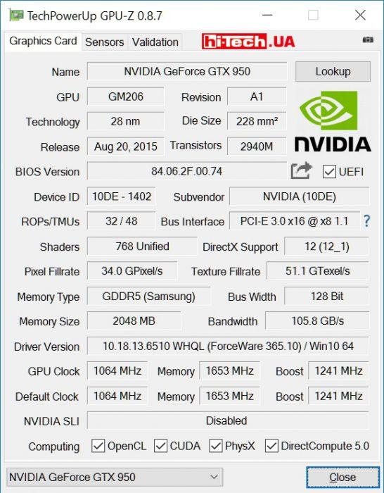 Видеокарта Palit GeForce GTX 950 StormX Dual (GPUZ)