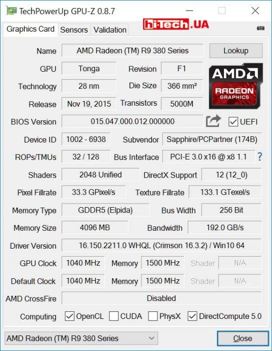 Видеокарта Sapphire NITRO Radeon R9 380X 4G (GPUZ)