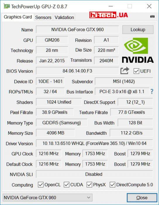 MSI GTX 960 GAMING 4G (GPUZ)