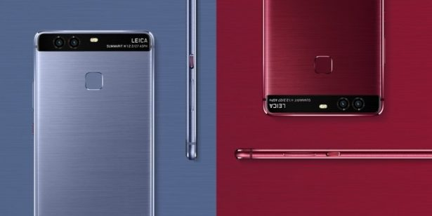 Huawei P9 in blue and red