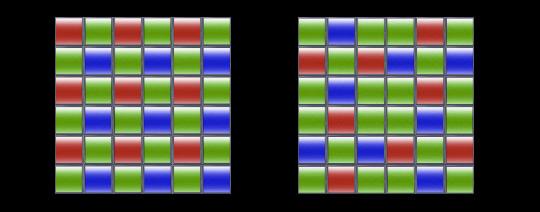 Расположение светофильтров пикселей на байеровской матрице (слева) и матрице Fujifilm X-Trans