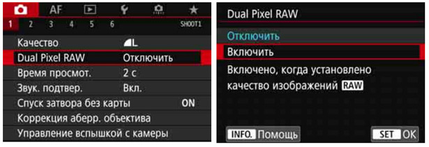 Включение Dual Pixel RAW в камере Canon EOS 5D Mark IV