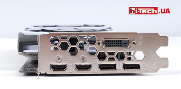 Набор разъемов немного нестандартный как для видеокарты на базе NVIDIA GeForce GTX 1060. Один из портов DisplayPort заменен на HDMI, и в результате набор видеовыходов состоит из одного DVI-порта, двух HDMI и двух DisplayPort