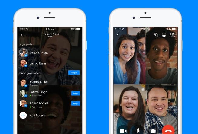 В фейсбук Messenger добавлена возможность группового видеочата