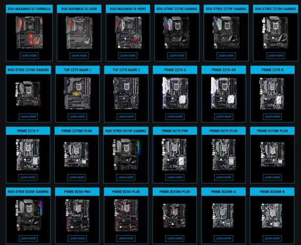 Материнские платы Asus на чипсетах серии Intel 200