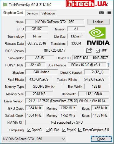 Характеристики Asus EX-GTX1050-2G по данным GPU-Z