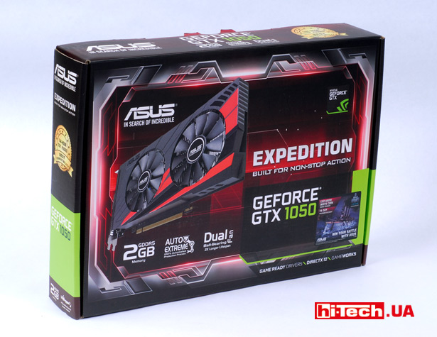 Коробка видеокарты Asus EX-GTX1050-2G