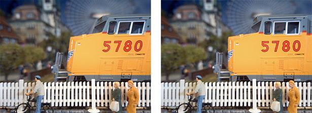 Негативный эффект от построчного считывания с недостаточной скоростью. Можно видеть, что движущийся поезд выглядит несколько наклоненным. С увеличением скорости считывания этот негативный эффект можно минимизировать