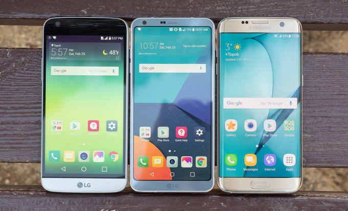 Слева-направо: LG G5 vs G6 vs Samsung Galaxy S7 Edge