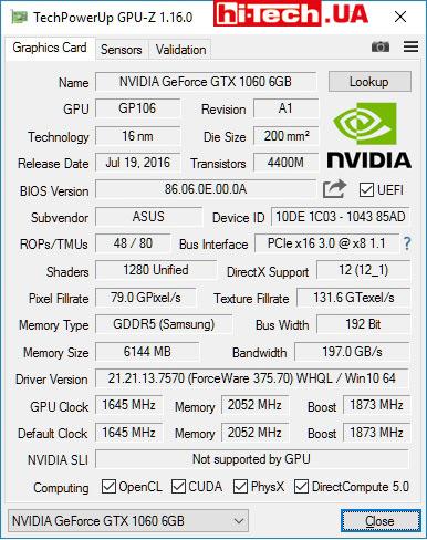 Характеристики ASUS ROG STRIX-GTX1060-O6G-GAMING по данным GPU-Z