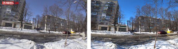 Сравнение картинки при стандартной настройке цветопередачи и при настройке Vivid (справа)