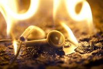 Burning-in headphones. Photo: Josh Valcarcel/WIRED