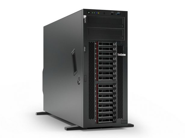 This image shows the Lenovo ThinkSystem ST550 in a front right-facing view