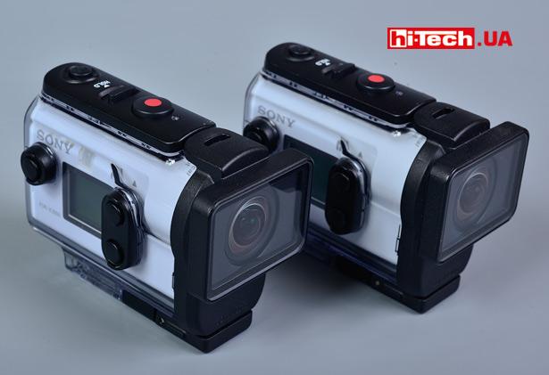 Sony FDR-X3000 и HDR-AS300 в фирменных защитных боксах