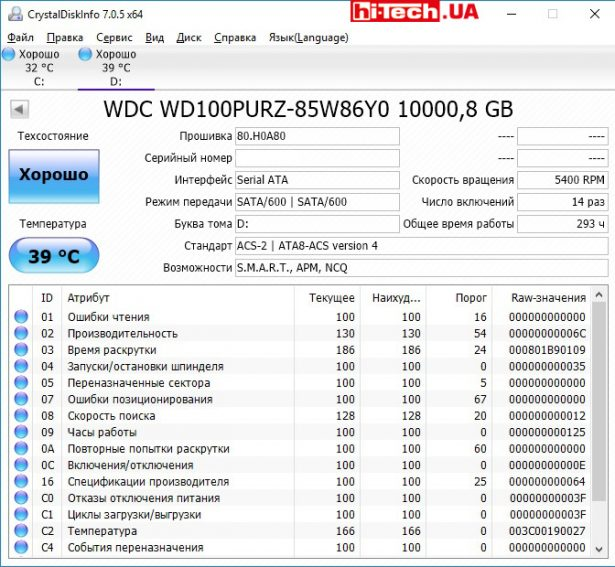 Свойства WD Purple WD100PURZ по данным утилиты CrystalDiskInfo