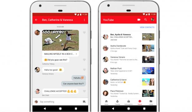 YouTube добавил личные сообщения вмобильное приложение