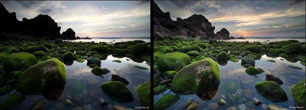 обычное фото слева и обработанное с применением эффекта HDR