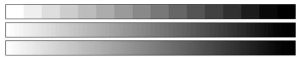 Чем больше градаций яркости, тем менее заметна ступенчатость на градиентных переходах