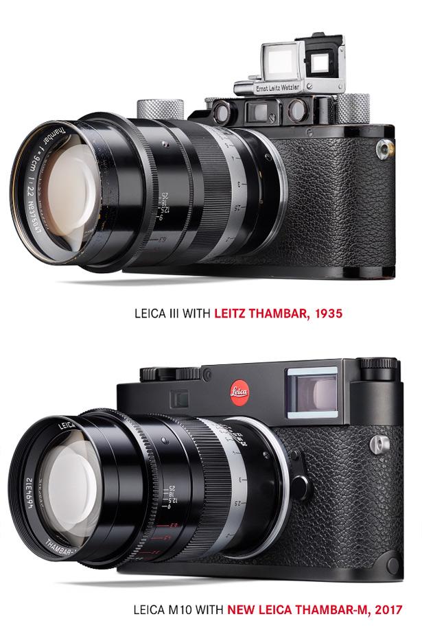 Камера Leica с новым объективом Thambar-M 90 mm f/2.2 в сравнении с камерой с оригинальным объективом 1935 года