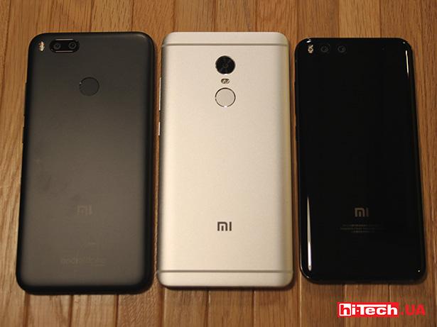 Сравнение габаритов A1, Redmi Note 4 и Mi6
