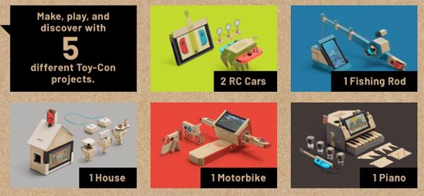 Игрушки, создаваемые с набором Nintendo Labo Variety Kit