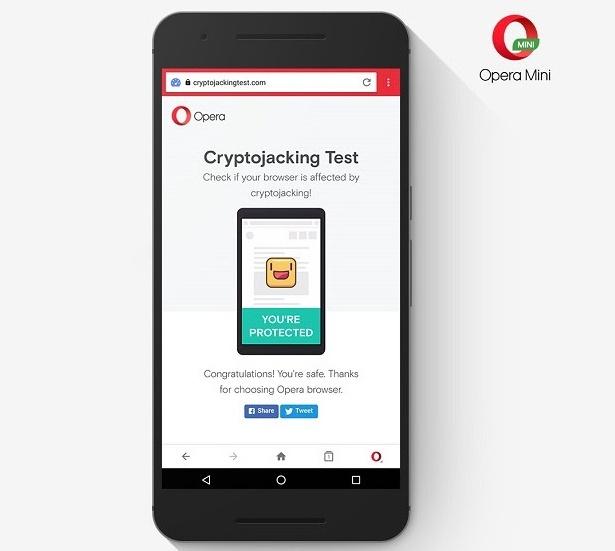 Opera Mini cryptojacking feature