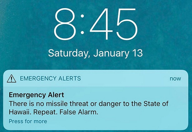 missile alert sms hawaii false