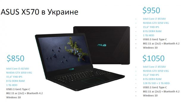 Модификации и цены ноутбука ASUS X570 на украинском рынке