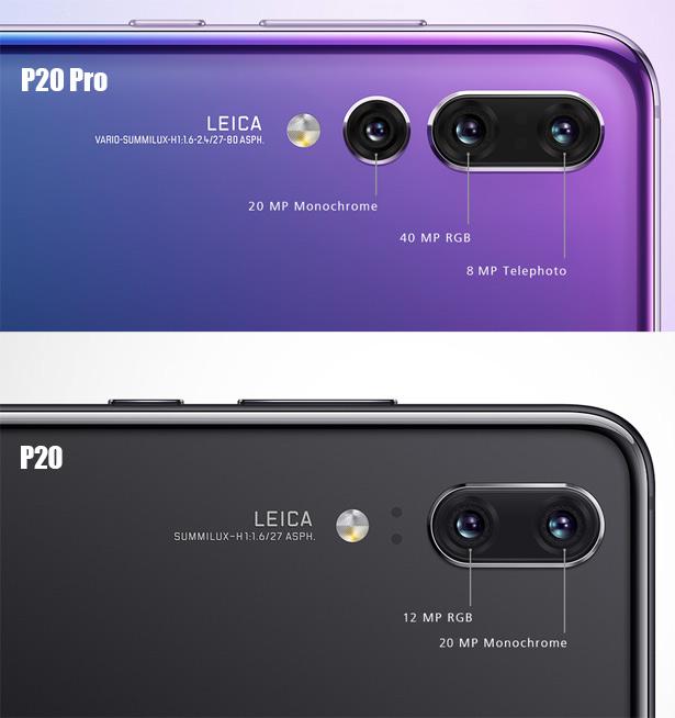 Отличия камер Huawei P20 Pro и Huawei P20