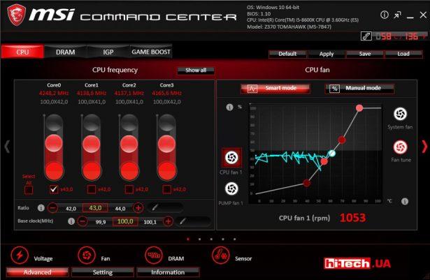 Контроль и управление платой MSI Z370 Tomahawk при помощи приложений