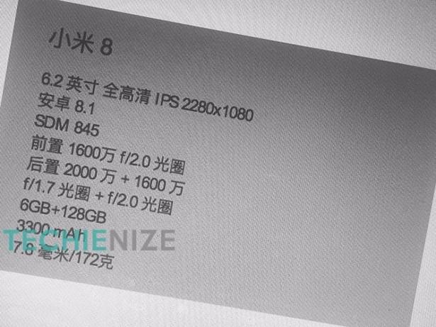Рендер синего Xiaomi Mi8 и главные особенности на постере
