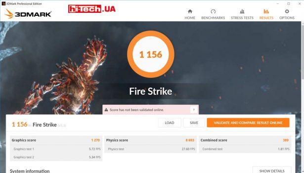 Оценка производительности в игровом тесте 3DMark Fire Strike