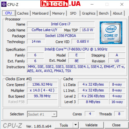 Характеристики установленного процессора Intel Core i7-8650U
